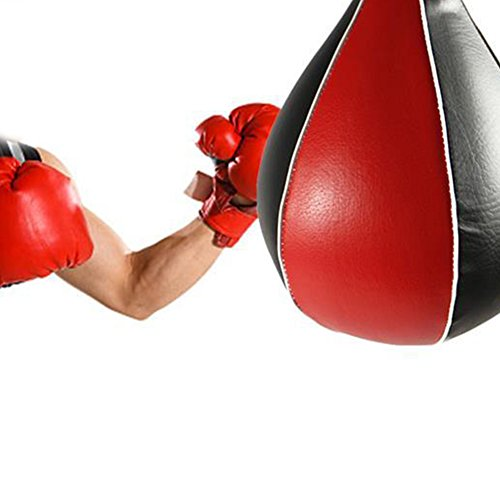 su-luoyu Profi Speedball Boxbirne Punchingball, Erwachsene Boxtraining Fitness Trainings Set, PU Medium Schwarz/Rot Boxbirne Boxapparat für die Wandmontage