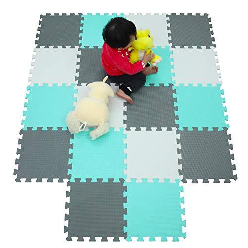 MU SHEN Puzzlematte/Bodenpuzzles/Puzzlespielmatte Foam Matte.Spielmatte Schaumstoff Verriegelung Puzzle Kinderteppich. Jede Matte hat eine Größe von 30x30cm und ist 1 cm dick (Grün, Grau/weiß)