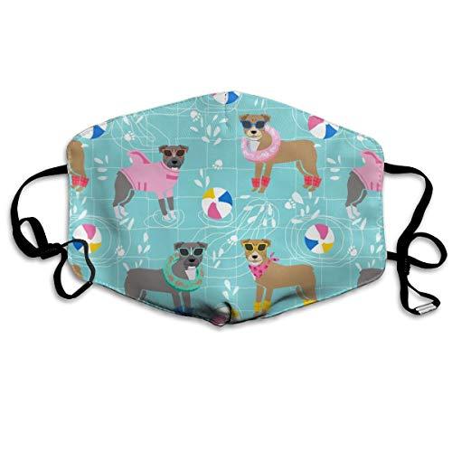 Pitbull Pool Party Pink Hund Rasse Hellblau Anti-Staub Maske Anti-Verschmutzung waschbar Wiederverwendbar Mundmasken