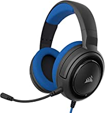 Corsair HS35 Stereo Cuffie Gaming con Microfono Unidirezionale Rimovibile, Altoparlanti in Neodimio da 50 mm, Compatibili con Xbox One, PS4, Nintendo Switch e Dispositivi Mobile, Blu