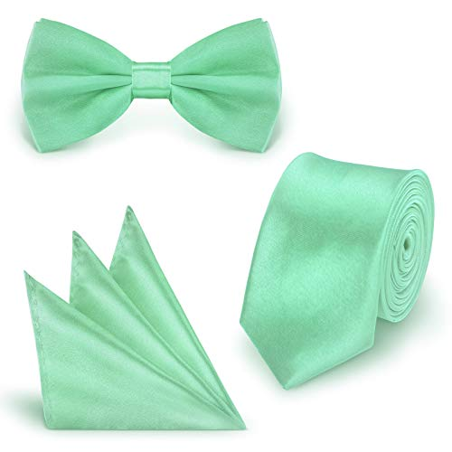 StickandShine SET Krawatte Fliege Einstecktuch Mint einfarbig uni aus Polyester (Mint-krawatte Und Einstecktuch)