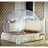 Royal Double Bed Foldable Mosquito Net with Border (Blue)