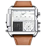 JSDDE Uhren Herren Armbanduhr LCD Digital+Quarz Dual Uhrwerk Echte Lederband Quarzuhr 3ATM Wasserdicht mit Kalender Datum Stoppuhr Fitness Armbanduhr (Braun-Weiß Dial)