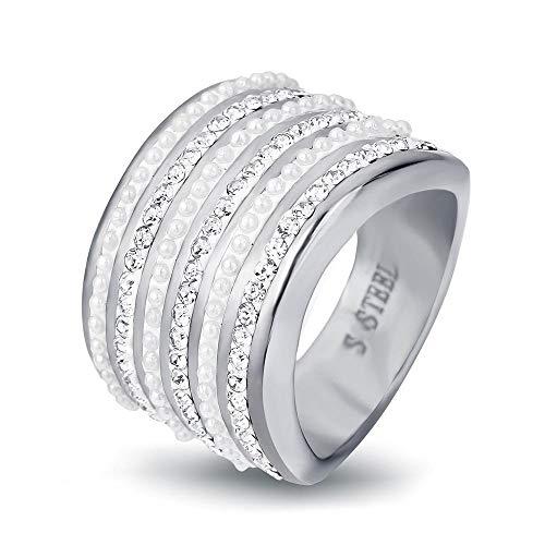 MAFYU Qualität Ringe Damen Ring mit Pavédiamonds und Masern-Titan-Stahl-Ringe Geschenk zu Lieben,...