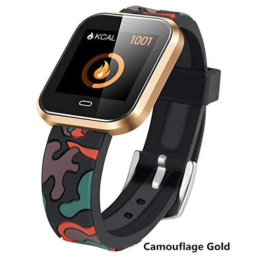 Smart Watch Fitness Tracker Pulsmesser Herren Smart Armband Wasserdicht Bluetooth Smart Armband Android-Camouflage Gold -