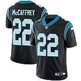 Majestic Athletic NFL Football Carolina Panthers 22# McCAFFREY T-Shirt Jersey Bequem und Atmungsaktiv Trikot,Black,L