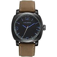 Sheli lancette Blu di grandi dimensioni, analogico al quarzo orologio da polso per uomo con pelle, 45mm - Gold Diamond Bezel Orologio