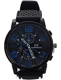 Reloj de pulsera - GT Reloj de pulsera de acero inoxidable de silicona ocasional para hombres