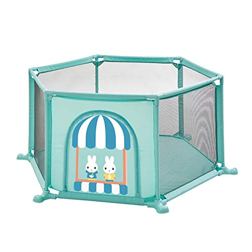 Parc de sécurité Hexagon Toddlers Toddler, cloison Anti-Renversement pour bébé, barrière Anti-Collision pour Centre d'activités avec Porte, Hauteur 67 cm (Couleur : Green)