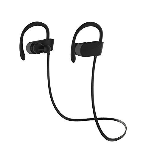 Auriculares Inalámbricos Antiruido Bluetooth 4.1, Chnano Auriculares Cascos Deportivos con Micrófono Estuche Sonido Estéreo Manos Libres para iPhone, Huawei, TomTom, MP3, Sony, BQ, LG etc (Negro)