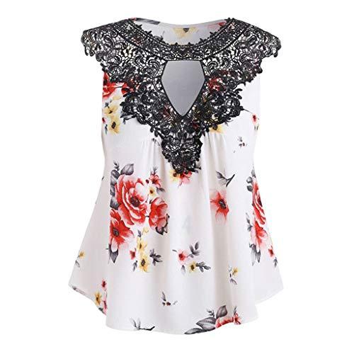 Damen Blusen für die Arbeit GREFER Fashion Floral Print Spitze Shirts Retro Short Sleeve and Sleeveless Tank Tops - - Groß -