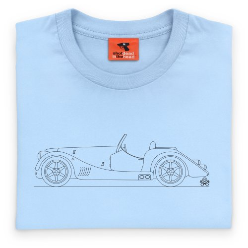 PistonHeads 2012 Plus 8 Classic Body Coupe T-Shirt, Herren Himmelblau