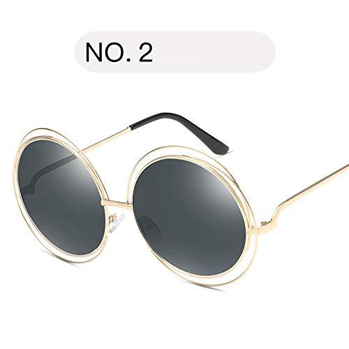 YUHANGH Übergroße Runde Sonnenbrille Mode Frauen Große Größe Große Retro Spiegel Sonnenbrille Dame Weibliche Vintage Uv4