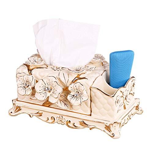 JOAIA Keramik Tissue Box Cover Halter für Wohnzimmer, Kaffeetisch Fernbedienung Aufbewahrungsbox Serviettenschale/Beige / 30.16.5 x 15 cm (Keramik Tissue Box Cover)
