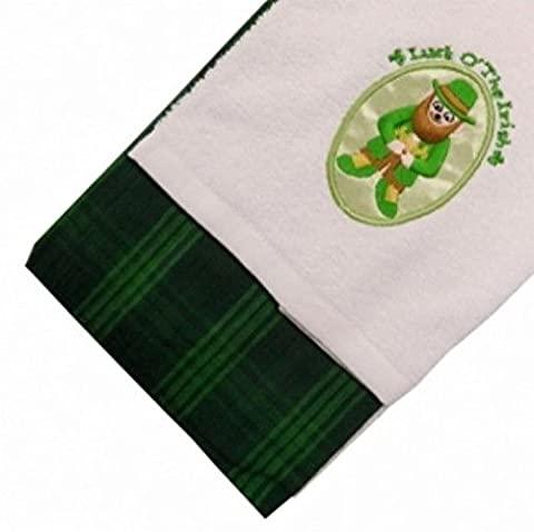 2 Pack of 100% Cotton Quality Kitchen Tea Towels Leprechaun Green Tartan Dishcloths