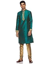 Manyavar Men's Sea Green Full Sleeve Regular Fit Self-Designed Kurta & Churidar Set