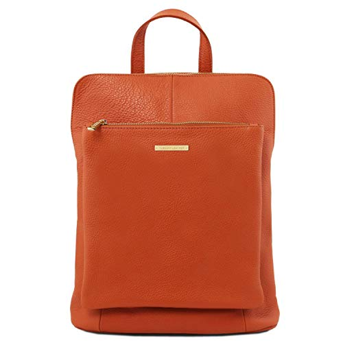 Tuscany Leather TLBag Lederrucksack für Damen aus weichem Leder Brandy - Brandy Handtaschen Aus Leder