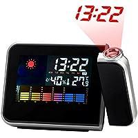 Yuccer Despertador Digital Termómetro Función de despertador Pantalla LCD Giratorio Reloj Proyección, Negro