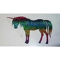 Bügelbild, Motiv: Einhorn, Farbe: regenbogen, Größe: 18x10,5cm, heißsiegelfähige Flexfolie