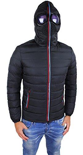 Giubbotto Piumino uomo nero Giubbino casual Slim Fit invernale con cappuccio e lenti taglia S M L XL XXL (XL, nero)