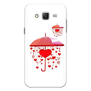 CrazyInk Premium 3D Back Cover for Samsung J3 2016 - Red Love Umbrella