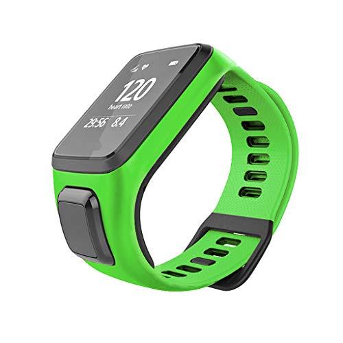 Waotier für Tomtom Runner 3 Armband mit Gehäuse Schutzhülle Silikon Armband Kompatibel für Tomtom Runner 3/2 Spark3 Armband mit Schnellverschluss Ersatzarmband für Sporuhr für Männer Frauen (Grün)