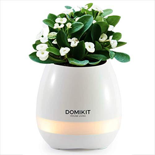 Domikit enceinte pot de fleur blanc bluetooth rechargeable smart touch led pour plantes d'intérieur