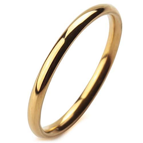 MeMeDIY 2mm Golden Ton Edelstahl Ring Band Hochzeit Lieben Größe 60 (19.1) Gravur (Größe 6 Ring)