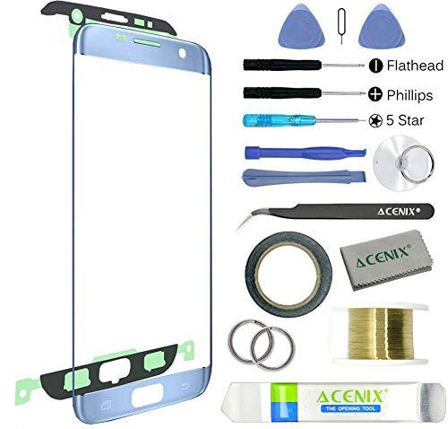 Ltd Mist (ACENIX® Ersatz-Frontglas für Samsung Galaxy S7 Edge Blue Mist + 2 mm Klebeband und Öffnungswerkzeug)