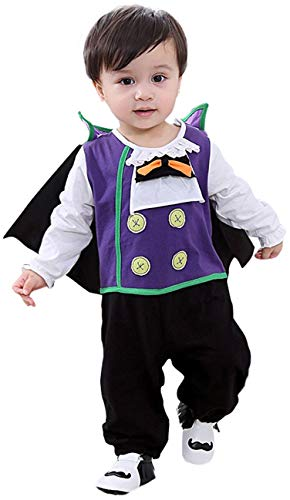 MOMBEBE COSLAND Disfraz de Vampiro Bebé Mono Niño con Capa de Manga
