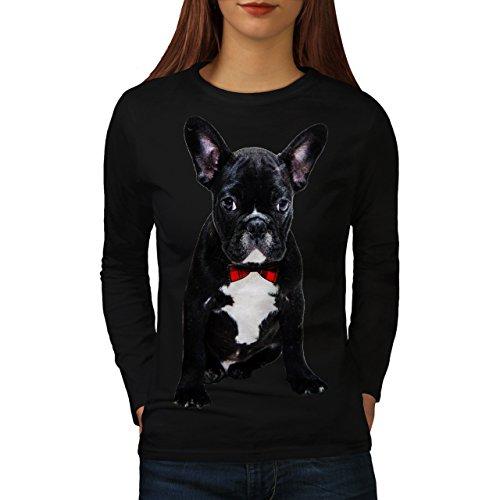 Schick Französisch Bulldogge Schwarz Code Damen L Langarm-T-Shirt | Wellcoda (Langarm-shirt-feld)