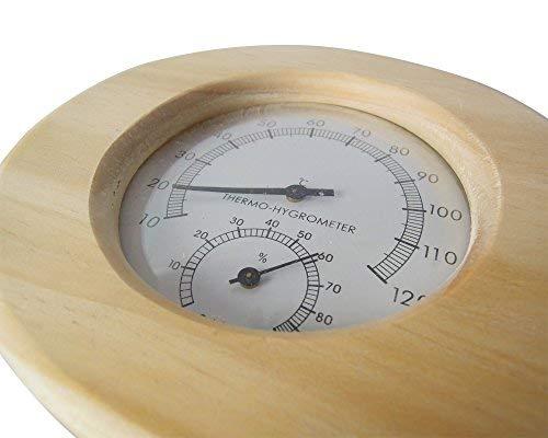 Sauna Thermometer und Hygrometer aus Massivholz in oval - 2