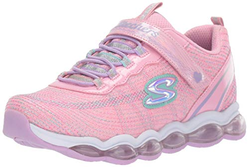 Skechers Glimmer Lights Girl's Lighted Midsole Sparkle Gore & Strap Trainers Light Pink/Multicoloured UK 3 - Glimmer-finish