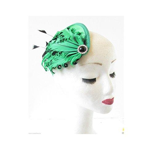Vert Noir plume chapeau bandeau à cheveux Races Bonnet Vintage Argent R75 vous * * * * * * * * exclusivement vendu par – Beauté * * * * * * * *