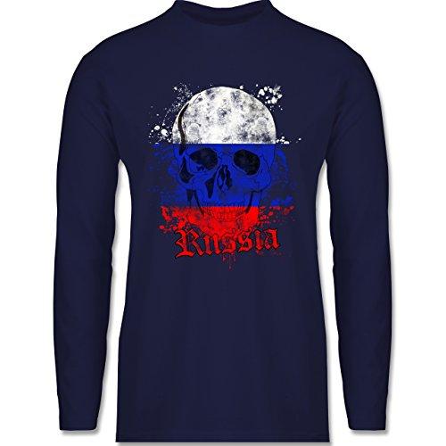 Shirtracer Fußball-WM 2018 - Russland - Russia Schädel Vintage - Herren Langarmshirt Navy Blau