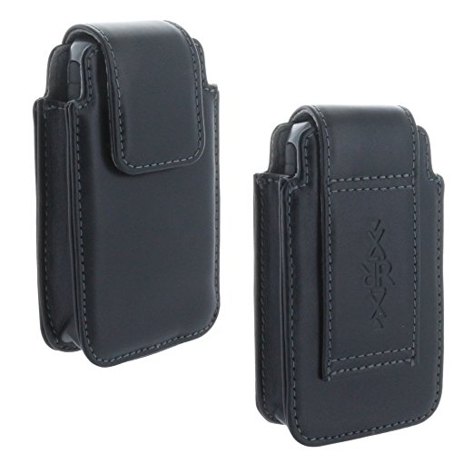XiRRiX Leder Handy Gürteltasche für Seniorenhandy - Tasche passend für Cat B30 - Doro 5030 - Emporia Pure V25 Euphoria V50 - schwarz