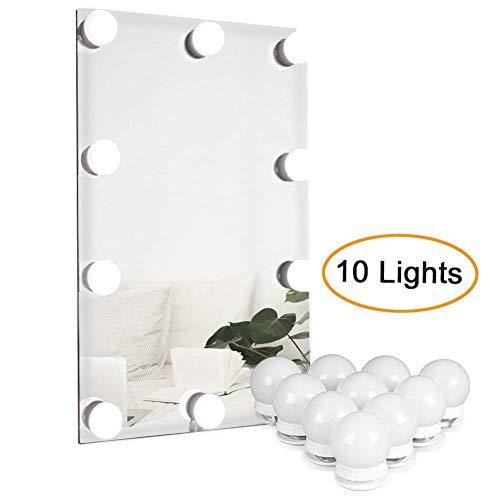 Kraumi Espejos con Luz para Maquillaje, Espejo de Maquillaje con 10 Bombillas Regulables para Mesa de Maquillaje,Baño,Espejo,Armario,Tocador.(Espejo no Incluido)