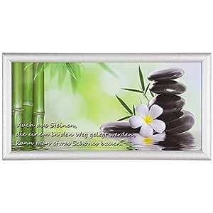 bild wandbild kunstdruck 23x49 spruch wellness steine gr n schwarz wei k che haushalt. Black Bedroom Furniture Sets. Home Design Ideas