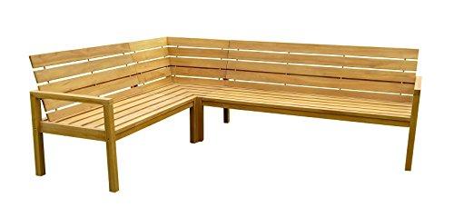 SAM® Teak-Holz Eckbank, massive Gartenbank für bis zu 6 Personen, Sitzbank mit hohem Sitzkomfort, ideal für Garten Terrasse Balkon oder Wintergarten, beidseitig aufbaubar, ca. 250 x 190 cm [521216]