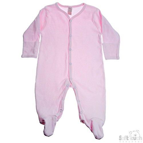 Dors bien bébé 100% coton brossé avec moufles sur le poignet - 3-6 mois Rose. Soft Touch