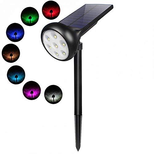 Tanouve Luces Solar Exterior, Foco Solar con 7 Colores LED/ 2 Modos...