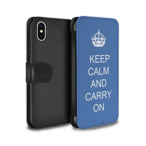 Stuff4 Coque/Etui/Housse Cuir PU Case/Cover pour Apple iPhone X/10 / Pack 25pcs Design / Reste Calme Collection Continuer/Bleu