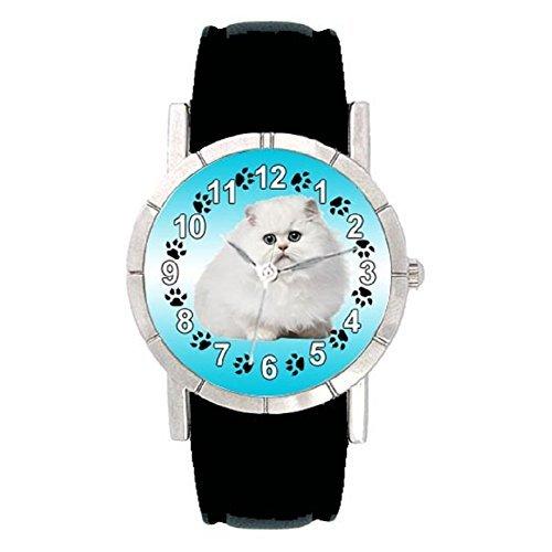 persiano-gatto-orologio-da-polso-pelle-colore-nero