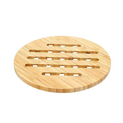 Sherineo Salvamanteles de bambú Natural para Platos Calientes - Almohadillas de Tetera de Almohadillas Resistentes Antideslizante al Calor Protección para Mesa(Redondo, 16.7 * 0.8)