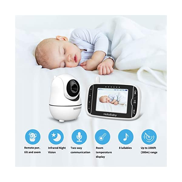 """HelloBaby Video Baby Monitor, [HB66] with VOX Mode Remote Camera Pan-Tilt-Zoom 3.2 Inches Color LCD Screen Infrared Night Vision Temperature Monitoring Lullaby 2-Way Audio (Black) hellobaby 3.2"""" LCD DISPLAY & 2.4GHz WIRELESS TECHNOLOGY: This video baby monitor is equiped with a 3.2 inch TFT LCD display. Application of frequency hopping and digital encryption technology ensures secure and reliable connection. REMOTE PAN TILT and ZOOM: Remote control camera rotate 355° in horizontal and 120° vertical ensuring you always have a clear view of your baby from any angle. TWO WAY TALK: The crystal clear two-way audio feature allows conversation both ends as clear as if you were in the same room with your little one. 7"""