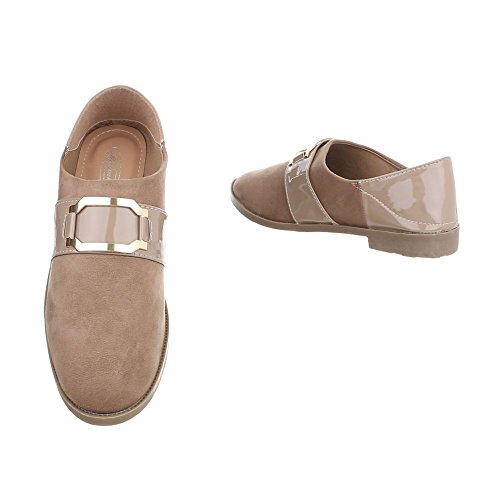 Ital-Design Chaussures Femme Mocassins Bloc Slippers bronzage