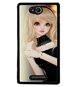 Printvisa Baby Doll Dressed Up In Black Back Case Cover for Sony Xperia C::Sony Xperia C HSPA+ C2305