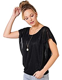 KRISP Damen 2in1 Oversize Chiffon Fledermaus Top mit Schmuck
