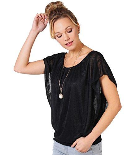 6093-BLK-XLXXL: Merhlagiges Tunika Shirt Weite Ärmel Halskette Kurzärmelig (Schwarz, Gr.XL/XXL)