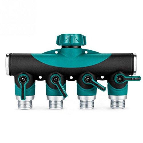 Tuyau d'arrosage Vanne d'arrêt, SE connecter à l'extérieur Spigot arthrite Friendly robinet extension, Meilleur goutte et extérieure utilitaire robinet adaptateur 4 Way Splitter